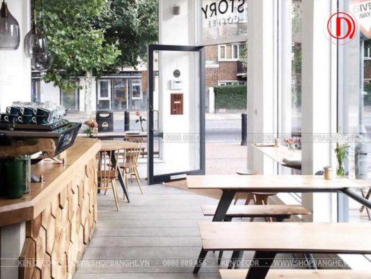 bàn gỗ quán trà sữa