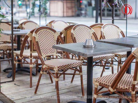 bàn ghế cafe nhựa giả mây