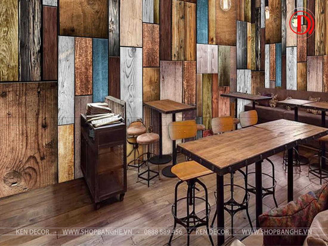 bàn cafe chân sắt mặt gỗ
