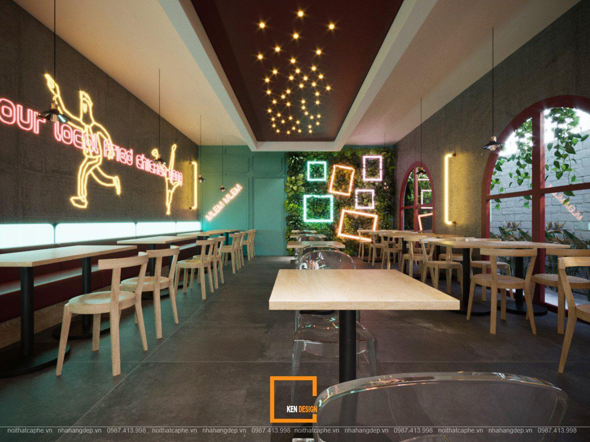 thiết kế bàn ghế quán ăn nhanh