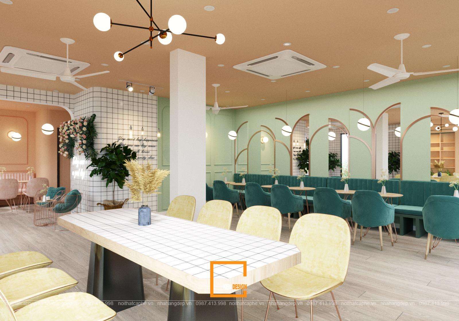 bàn ghế trong quán Kat Coffee & Tea